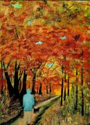 Dog Walking Mixed Media Posters - Autumn Walk Poster by David Bishop