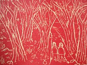 Printmaking. Reliefs - Autumn Walk by Ward Smith