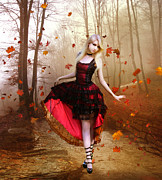Goth Digital Art Posters - Autumn Waltz Poster by Karen Koski