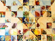 Quilt Drawings - Autumn Watercolor Quilt by Mindy Newman