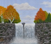 Autumn Waterfall Print by Georgeta  Blanaru