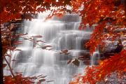 Akron Falls Posters - Autumn Waterfall I Poster by Kenneth Krolikowski