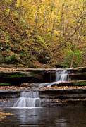 Tom Biegalski Metal Prints - Autumn waterfall Metal Print by Tom Biegalski