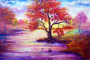 Acrylic Paintings - Autumn Waters by Ann Marie Bone
