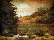 Autumn Landscape Digital Art Prints - Autumn Wetlands Print by Jessica Jenney