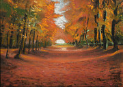 Light Orange Pastels Posters - Autumn Woods 2 Poster by Paul Mitchell