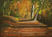 Woods Pastels Prints - Autumn Woods 4 Print by Paul Mitchell