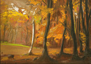 Woods Pastels Prints - Autumn Woods 5 Print by Paul Mitchell