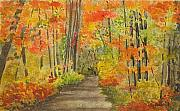 Fall Color Painting Posters - Autumn Woods Poster by Ally Benbrook