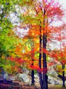 Tree Leaf Mixed Media Posters - Autumnal Rainbow Poster by Angelina Vick