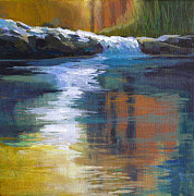 Serene Landscape Painting Originals - Autumnal Reflections by Melody Cleary
