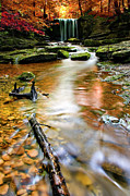 Autumn Water Prints - Autumnal Waterfall Print by Meirion Matthias