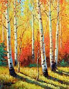 Aspen Tree Paintings - Autumns Glow by David G Paul