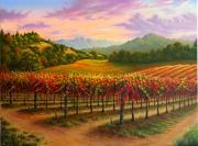 Napa Valley Vineyard Paintings - Autumns Paintbrush by Patrick ORourke