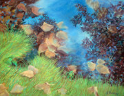 Fall Leaves Pastels Posters - Autumns Relection Poster by Linda Preece