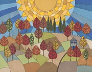 Autumn Trees Drawings Posters - Autumns Tapestry Poster by Pamela Schiermeyer