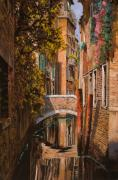 Orange Sunset Posters - autunno a Venezia Poster by Guido Borelli