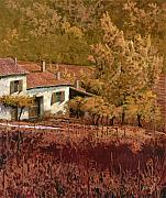 Farm Painting Framed Prints - Autunno Rosso Framed Print by Guido Borelli
