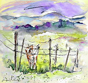 Cows Drawings Posters - Auvergne 01 in France Poster by Miki De Goodaboom