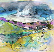 Rural Landscapes Drawings - Auvergne 02 in France by Miki De Goodaboom