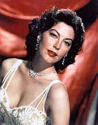 Diamond Earrings Framed Prints - Ava Gardner Framed Print by Everett