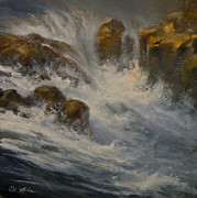 Glacier National Park Paintings - Avalanche Falls by Mia DeLode