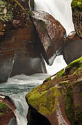 Moss Green Framed Prints - Avalanche Gorge Whitewater in Glacier National Park 1.1 Framed Print by Bruce Gourley