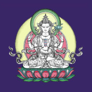 Tibetan Buddhism Drawings Metal Prints - Avalokiteshvara Metal Print by Carmen Mensink