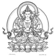 Tibet Drawings Framed Prints - Avalokiteshvara -Chenrezig Framed Print by Carmen Mensink