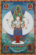 Thangka Framed Prints - Avalokiteshvara Lord of Compassion Framed Print by Sergey Noskov