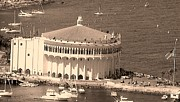 Avalon Casino In Sepia Print by Paula Greenlee