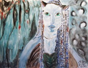 Avatar Paintings - Avatar Portrait of Alien Woman by Stanley Morganstein