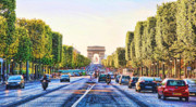Elysees Posters - Ave des Champs Elysees Poster by Chuck Kuhn