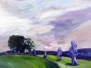 Visionary Art Painting Prints - Avebury Path 1 Print by Susan Tower