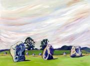 Visionary Art Painting Prints - Avebury Path 2 Print by Susan Tower