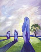 Visionary Art Painting Prints - Avebury Sunrise Print by Susan Tower