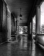 E Black Photo Prints - Avenel Front Porch - BW Print by Steve Hurt