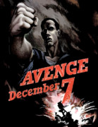 Pearl Harbor Framed Prints - Avenge December 7th Framed Print by War Is Hell Store
