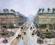 Parisian Street Scene Framed Prints - Avenue de lOpera - Effect of Snow Framed Print by Camille Pissarro