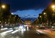 Night Time Framed Prints - Avenue des Champs Elysees. Paris Framed Print by Bernard Jaubert