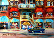 Montreal Landmarks Paintings - Avenue Du Parc Cafes by Carole Spandau
