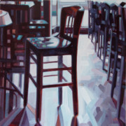 Contemporary Oil Paintings - Avida Seat by Penelope Moore