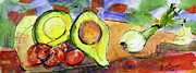 Watercolor And Ink Paintings - Avocado and Onions Vegetable Still Life by Ginette Fine Art LLC Ginette Callaway