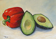 Red Fruit Framed Prints - Avocado with Bell Pepper Framed Print by Torrie Smiley