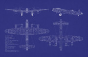 Airplane Digital Art Prints - Avro Lancaster Bomber Blueprint Print by Michael Tompsett