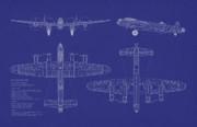 Avro Lancaster Bomber Blueprint Print by Michael Tompsett