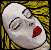 Fused Glass Prints - Awaiting a kiss Print by Valerie Lynn