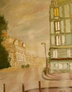 Rainy Street Painting Framed Prints - Awake in Paris Framed Print by Kimberly Boyle