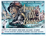 1956 Movies Framed Prints - Away All Boats, Jeff Chandler, George Framed Print by Everett