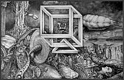 Fantastic Realism Drawings - Axis Mundi by Otto Rapp
